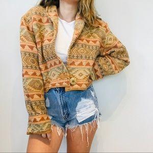 Vintage tribal pattern cropped retro jacket